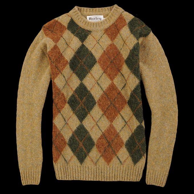 UNIONMADE - Harley of Scotland - Harley Argyle Crewneck Sweater in ...