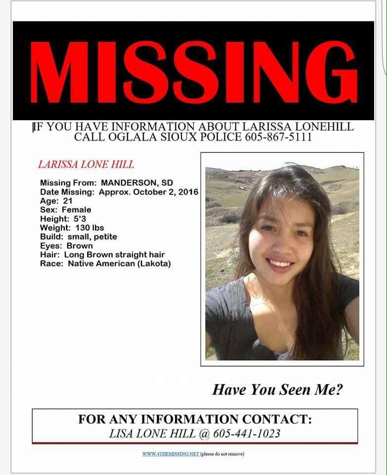 ALERT! Larissa Lone Hill still missing Please if you have seen - missing poster generator