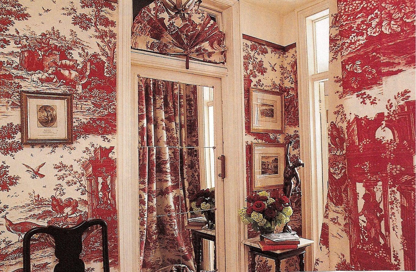 A profusion of Red & White Toile | Cuarto de baño rojo ...