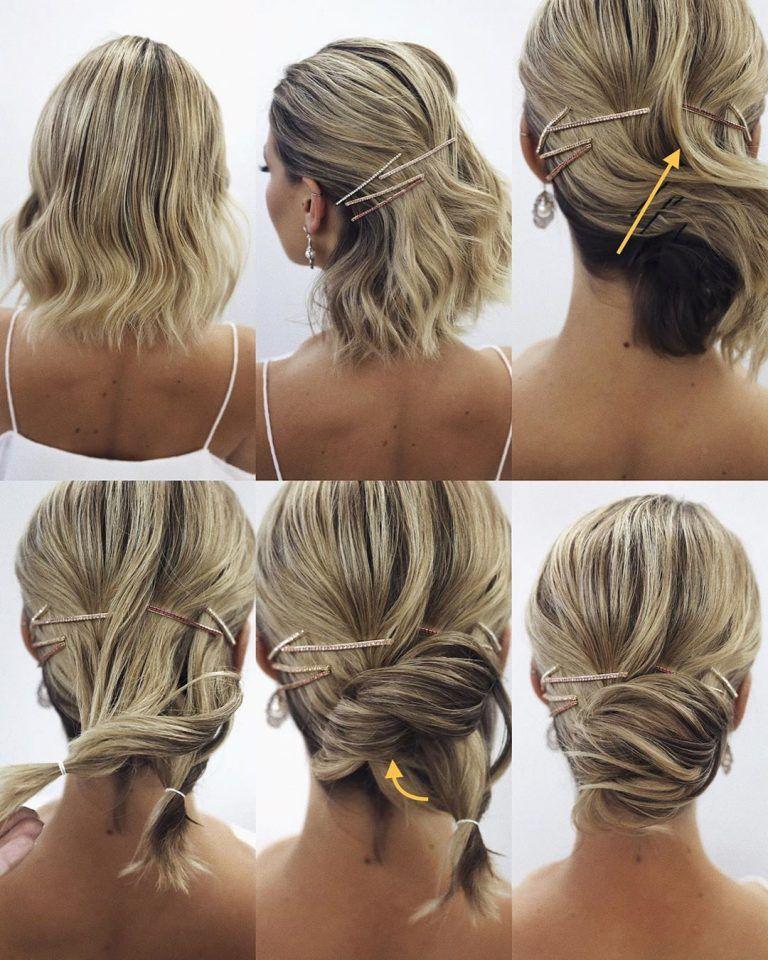 Elegant Prom Updo Tutorial Short Blonde Hair With Hairpin In 2020 Short Hair Updo Short Hair Bun Short Blonde Updo