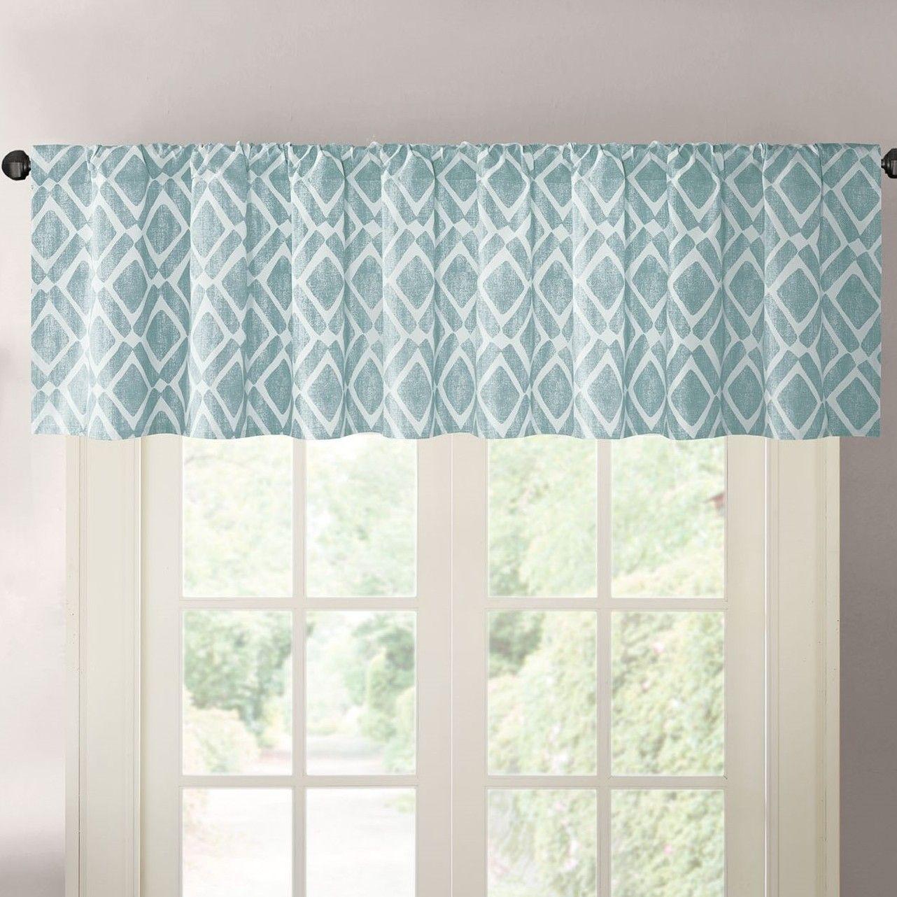 Parsons Diamond Rod Pocket Curtain Valance | beach house | Pinterest