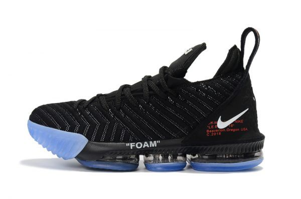 8944e959065a 2018 New Release Off-White x Nike LeBron 16 Black Blue Shoes