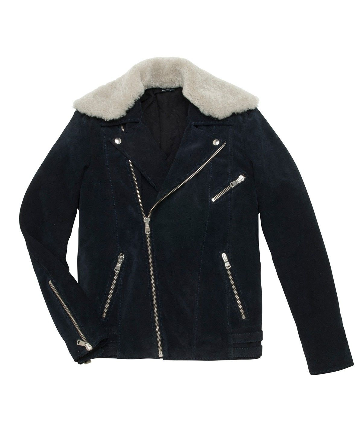 The Kooples Navy Blue Suede Perfecto Jacket Jackets