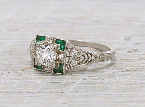 Photo of .40 Carat Diamond & Emerald Art Deco Engagement Ring