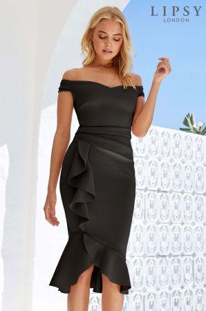 arrives free delivery buy sale Womens Lipsy Tall Satin Panel Bardot Flute Hem Bodycon Dress ...