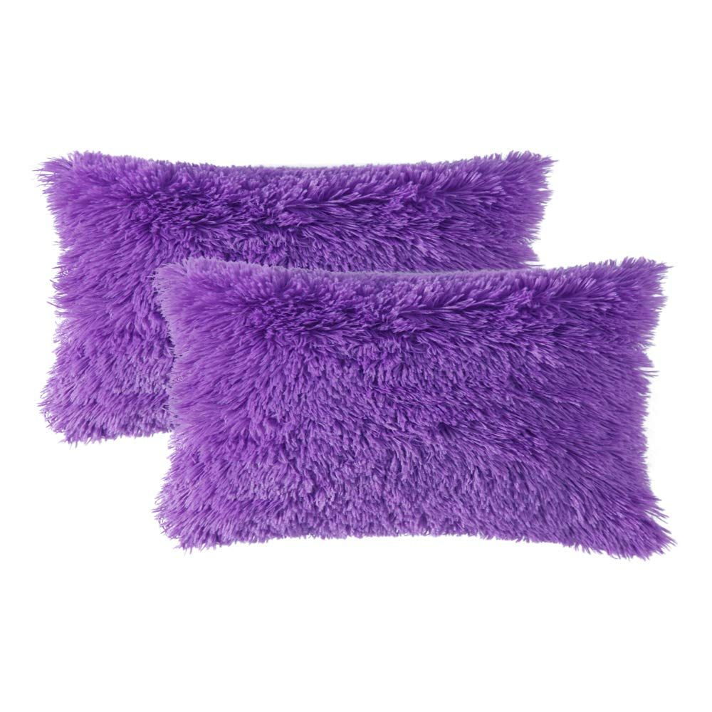 Luxury Faux Fur Throw Pillow Cover Deluxe Decorative Plush Pillow Case Cushion Cover Shell for Sofa Bedroom Car 12 x 20 Inch, Purple / 12''x20''