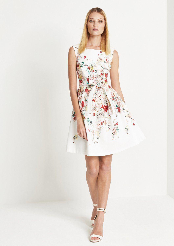 damen comma elegantes kleid mit floralmuster blau weiß