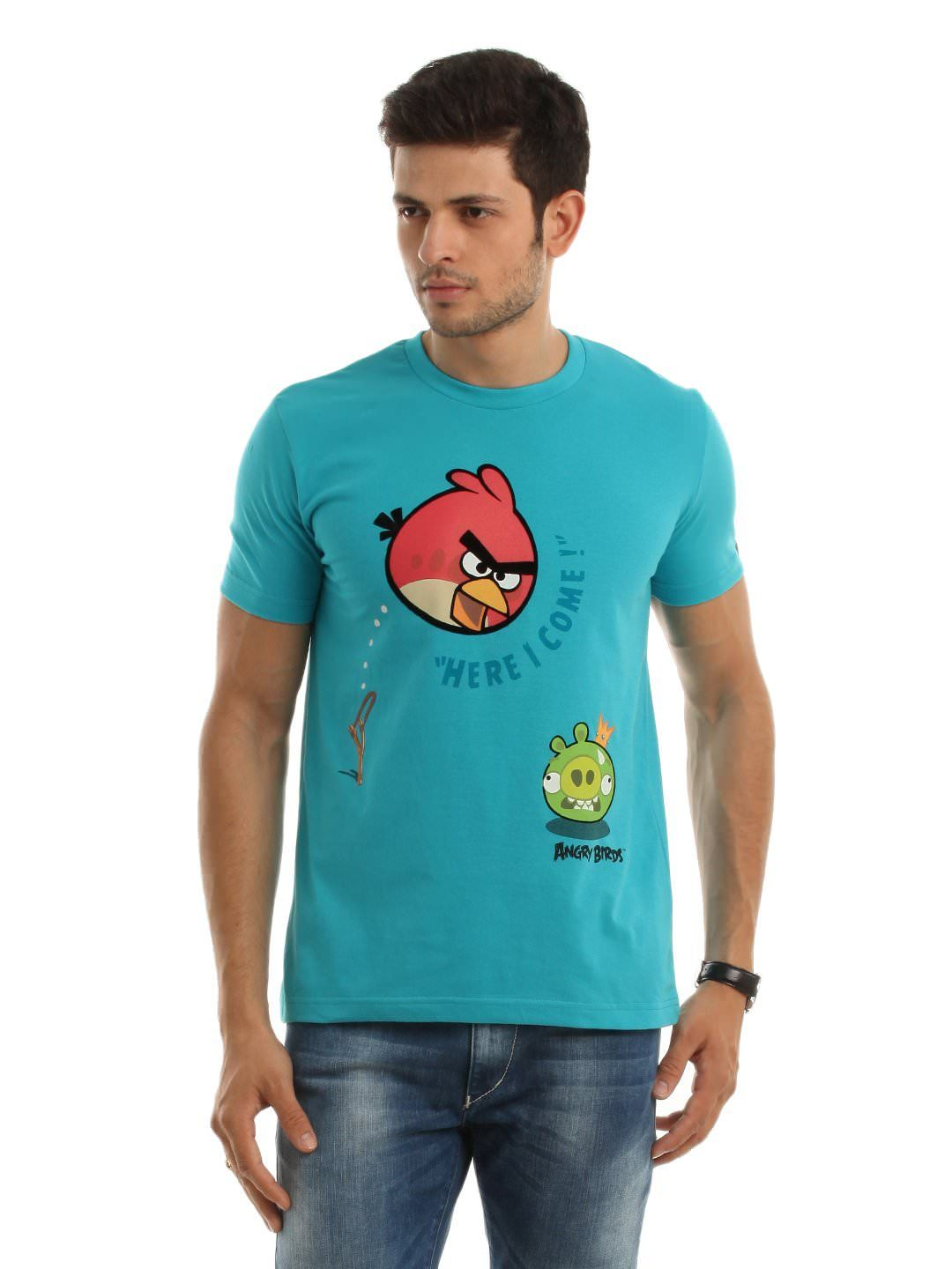 Design your t shirt myntra - Angry Birds Men Turquoise Blue T Shirt Myntra