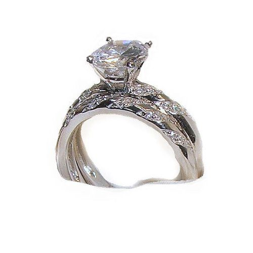 2.25Ct Princess Cut 3 Stones 925 Silver Engagement Wedding Ring Size 5-10
