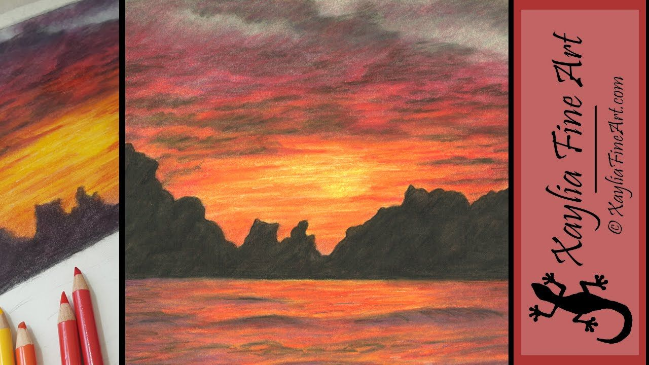 Tutorial How To Draw A Sunset In Coloured Pencils Drawing