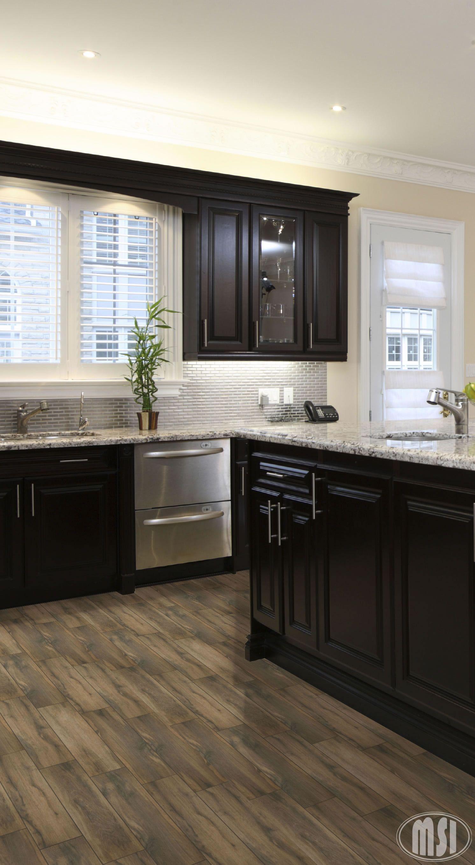 moon white granite, dark kitchen cabinets. | kitchen ideas