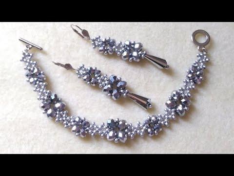 Photo of Crystal beads set,bracelet and earrings/Комплект из кристалей,браслет и серьги/