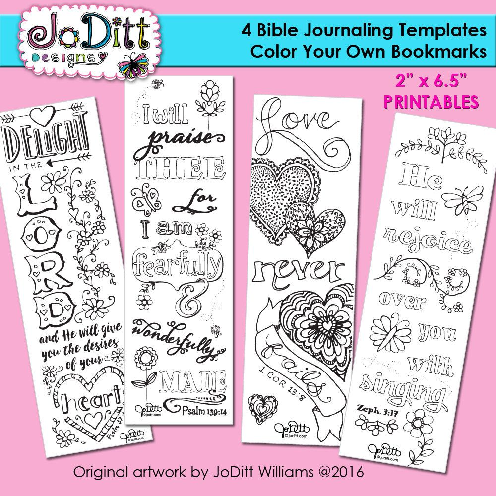 Bible journaling templates or bookmarks to color. A personal ...