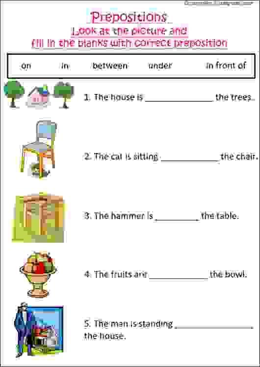 english grammar worksheet with pictures to practice preposition ideal for grade 1 kids or esl. Black Bedroom Furniture Sets. Home Design Ideas