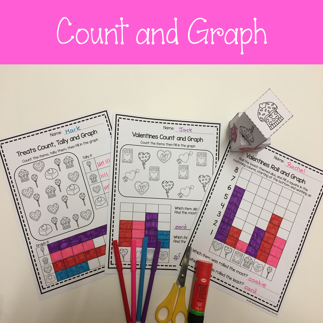 Valentines Roll Amp Graph Activity And Count Amp Graph