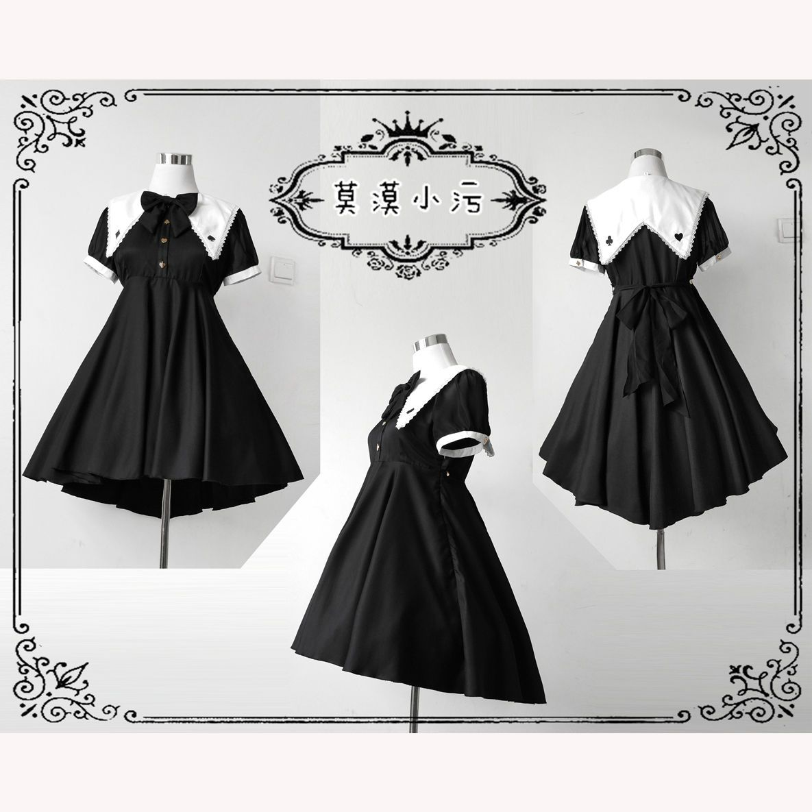 Japanese style black retro short sleeve dress irregular one piece