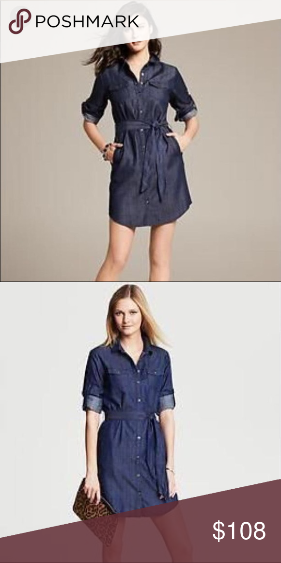 Banana Republic Denim Shirt Dress Size 0