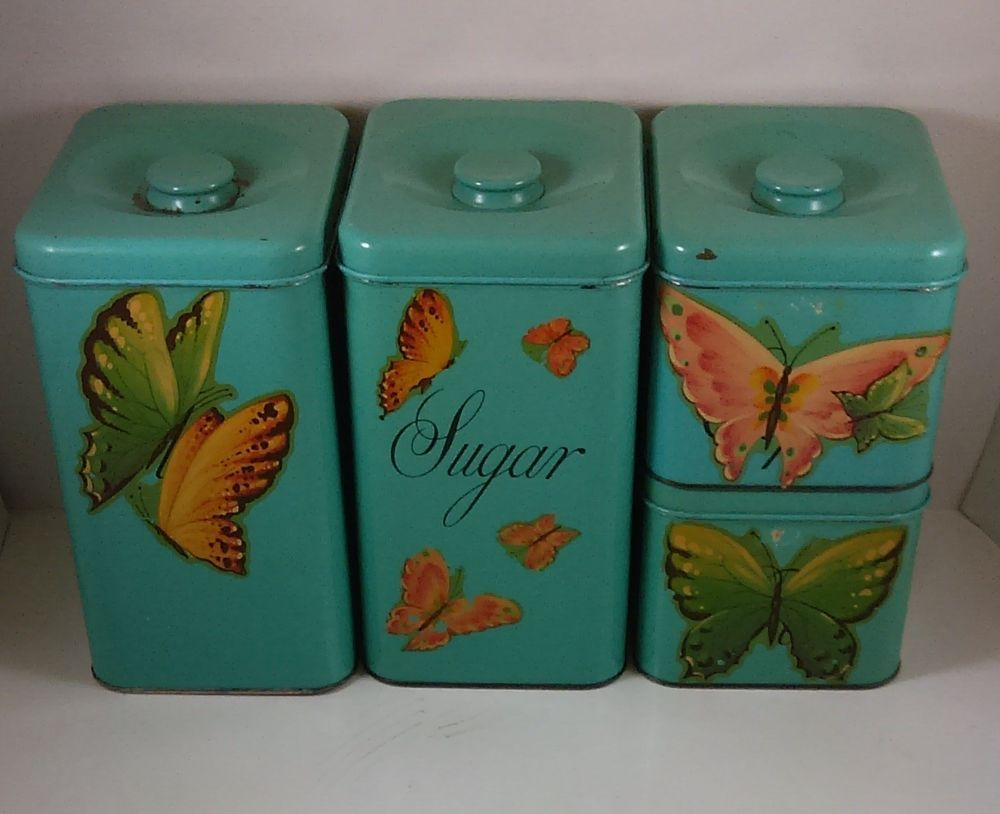 Vintage Turquoise Kitchen Canister Set of 4 Harvell Space Saver ...