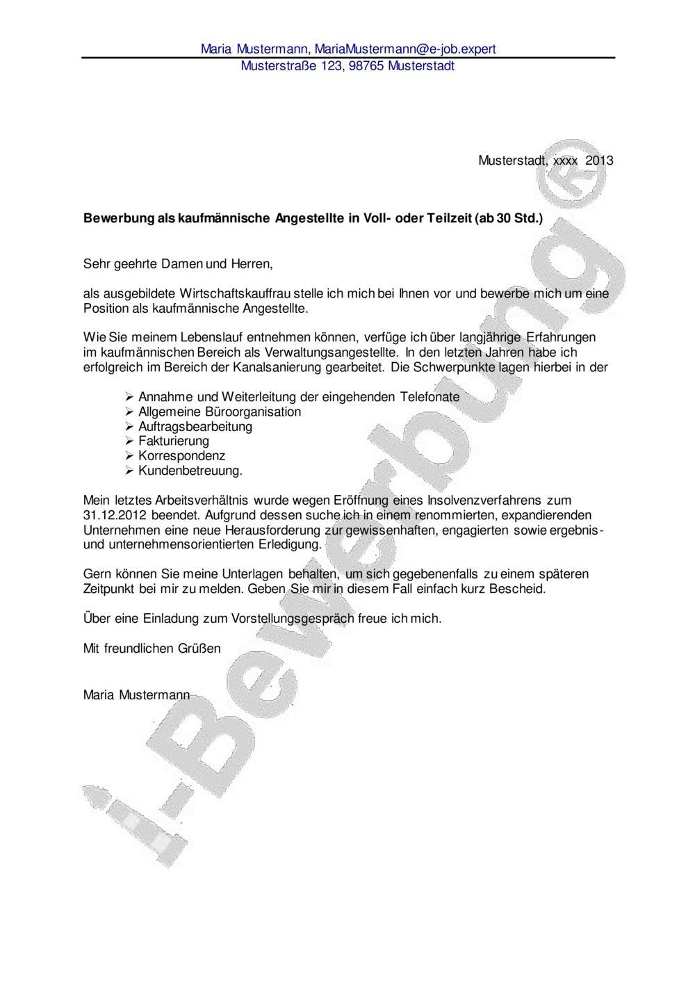 Initiativbewerbung Muster Kaufmannische Angestellte