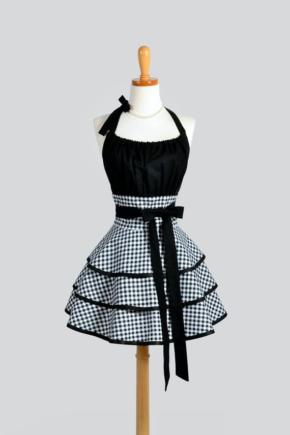 Designer Kitchen Aprons womens flirty chic apron / white and black gingham cute retro
