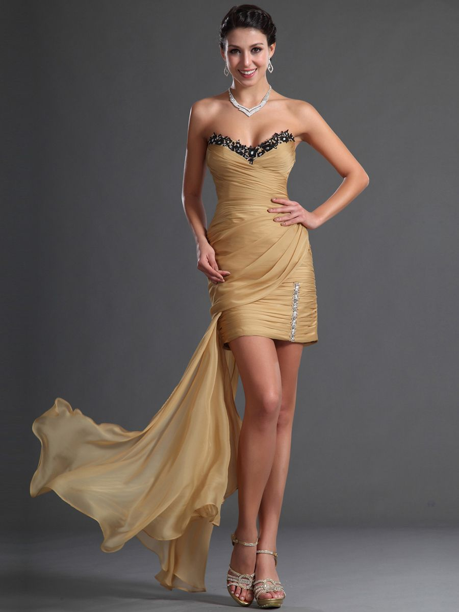 TopWedding Prom. Beaded Ruched Surplice Detailed Sheath Mini Prom Dress with Side Draped Train $138.86
