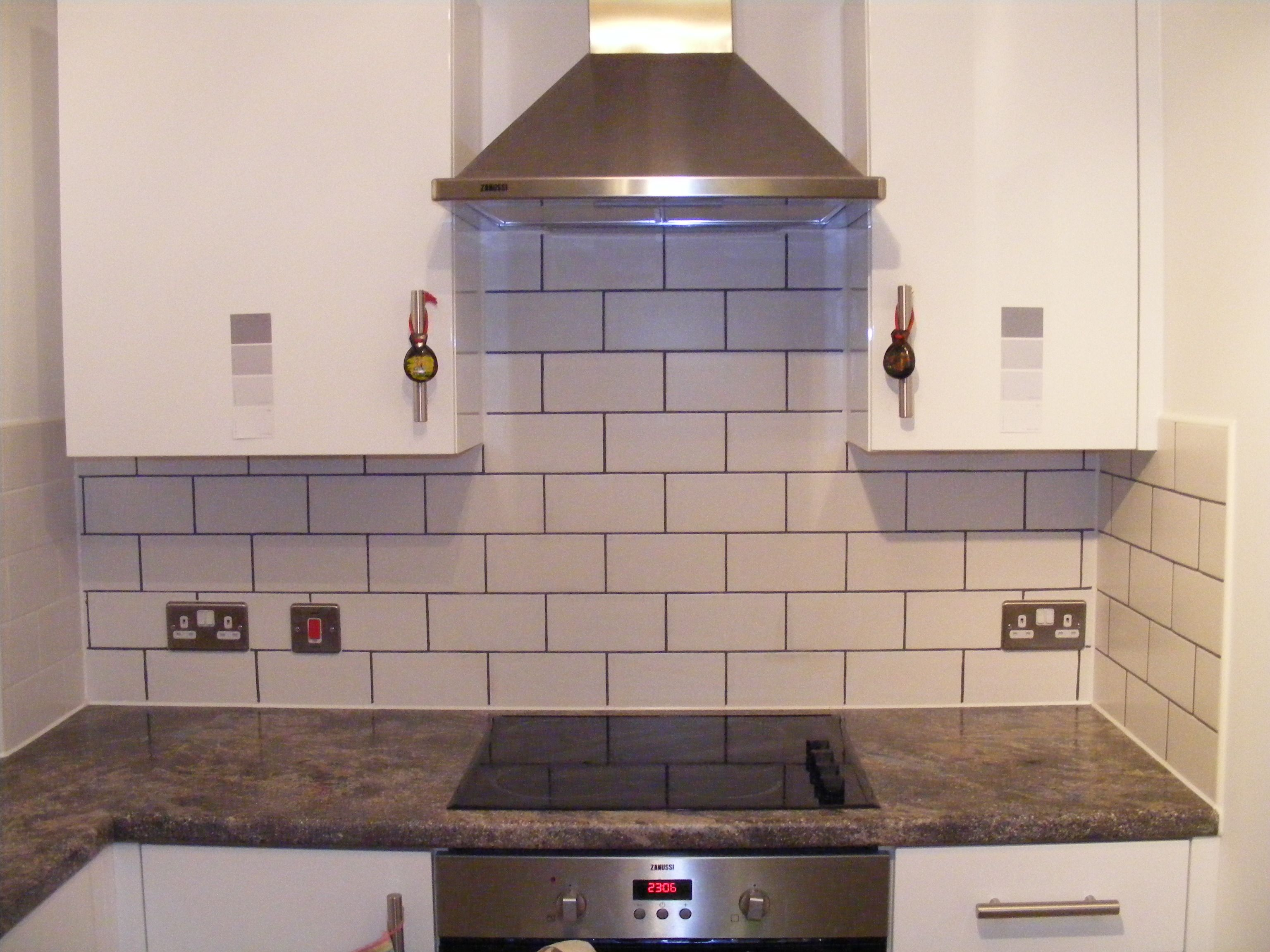 Kitchen After Dark Grey Grout Pen Applied To All Tile Grout Took About 2 Hours Grout Pen Grey Grout Tile Grout