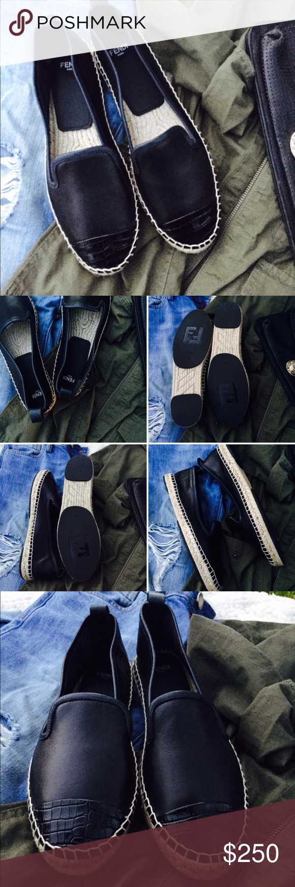 NWOT 💯Authentic Fendi Leather Flats Fendi croc-embossed cap-toe flat espadrilles. These flats a dark navy leather with an oxford feel and cap-toe detail. Pair with skinny jeans, leather pants or shorts for a finishing touch. These are brand new, never worn but no shoes box or bag with them. These are EU 39.5 which is 9.5 but fit more like a 9. Fendi Shoes Flats & Loafers