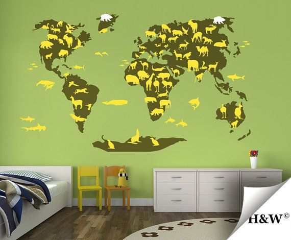 Animals world map kids wall decals nursery vinyl stickers on animals world map kids wall decals nursery vinyl stickers on etsy 16100 gumiabroncs Image collections