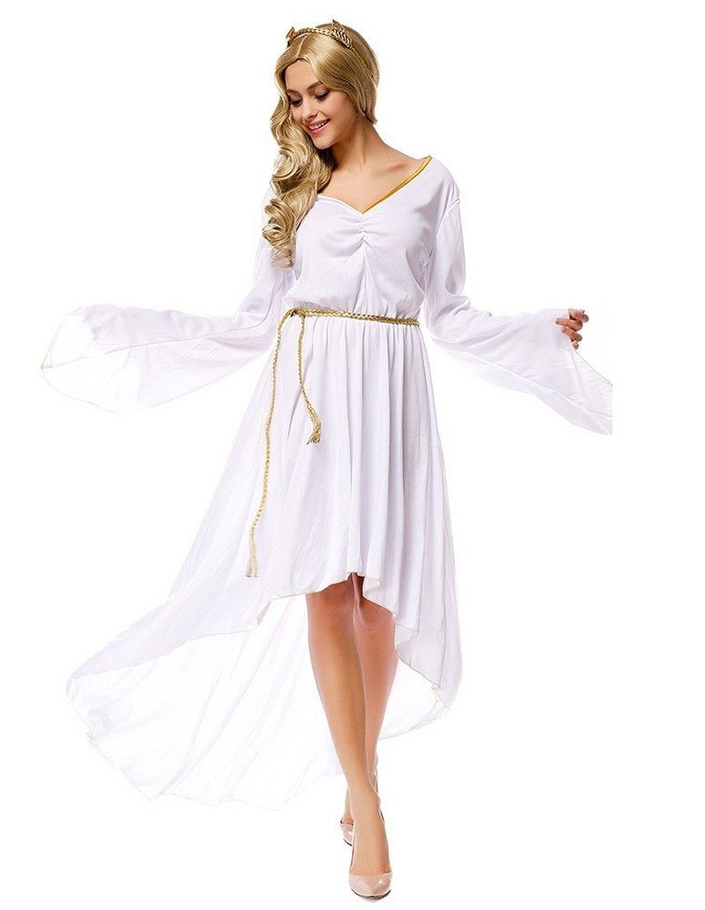 cef29701d0ad ... belt, and dress Gender: Female Age Group: Adult Color:white Pattern:  Athena Greek Goddess Adult Costume Occassion: Halloween Party, Stage  Material: