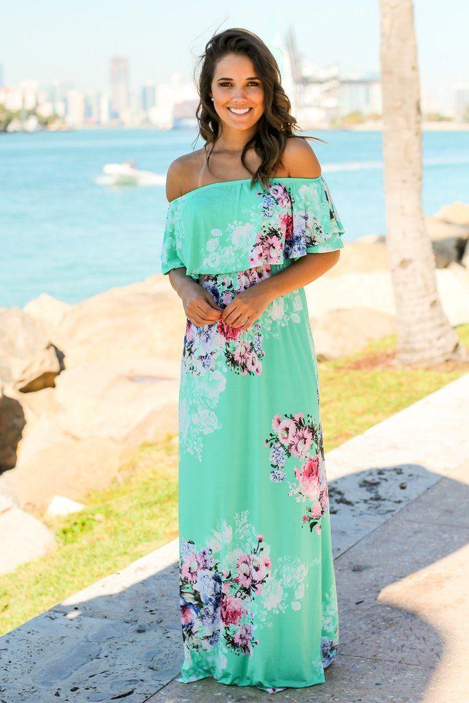 3baffeca536 Mint Floral Off Shoulder Maxi Dress