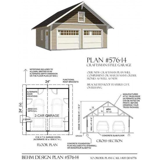 Garage Plans 2 Car Craftsman Style Garage Plan 576 14 24 X 24 Two Car By Behm Desig In 2020 Garage Plans Detached Garage Plans With Loft Large Garage Plans
