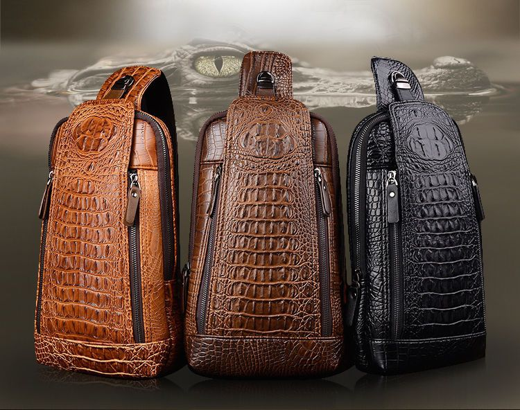 Real Leather Men Messenger Chest Bag Crocodile Pattern Sling Shoulder Back Pack