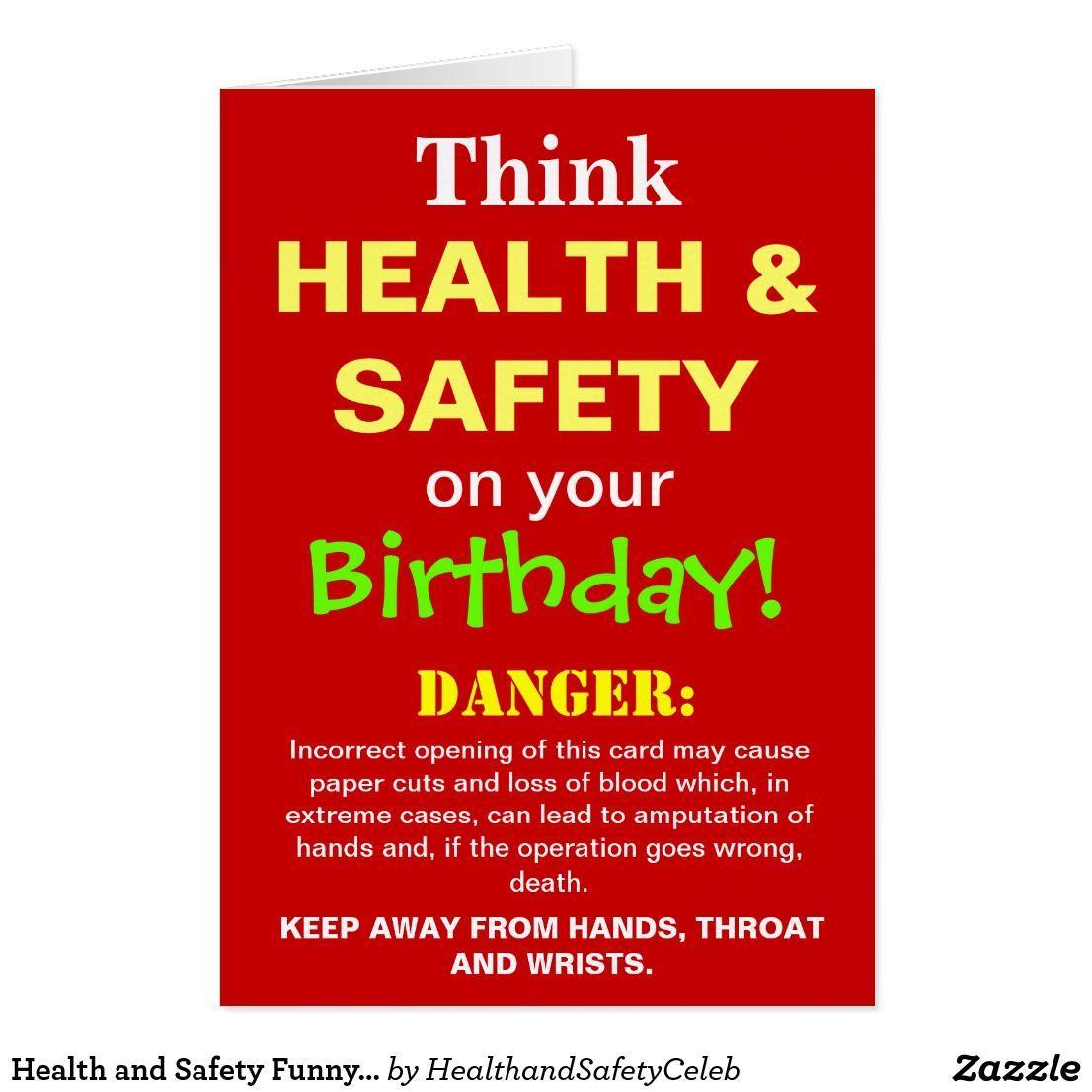 Health And Safety Funny Birthday Joke Card Zazzle Co Uk Health Humor Christmas Jokes Funny Birthday Jokes