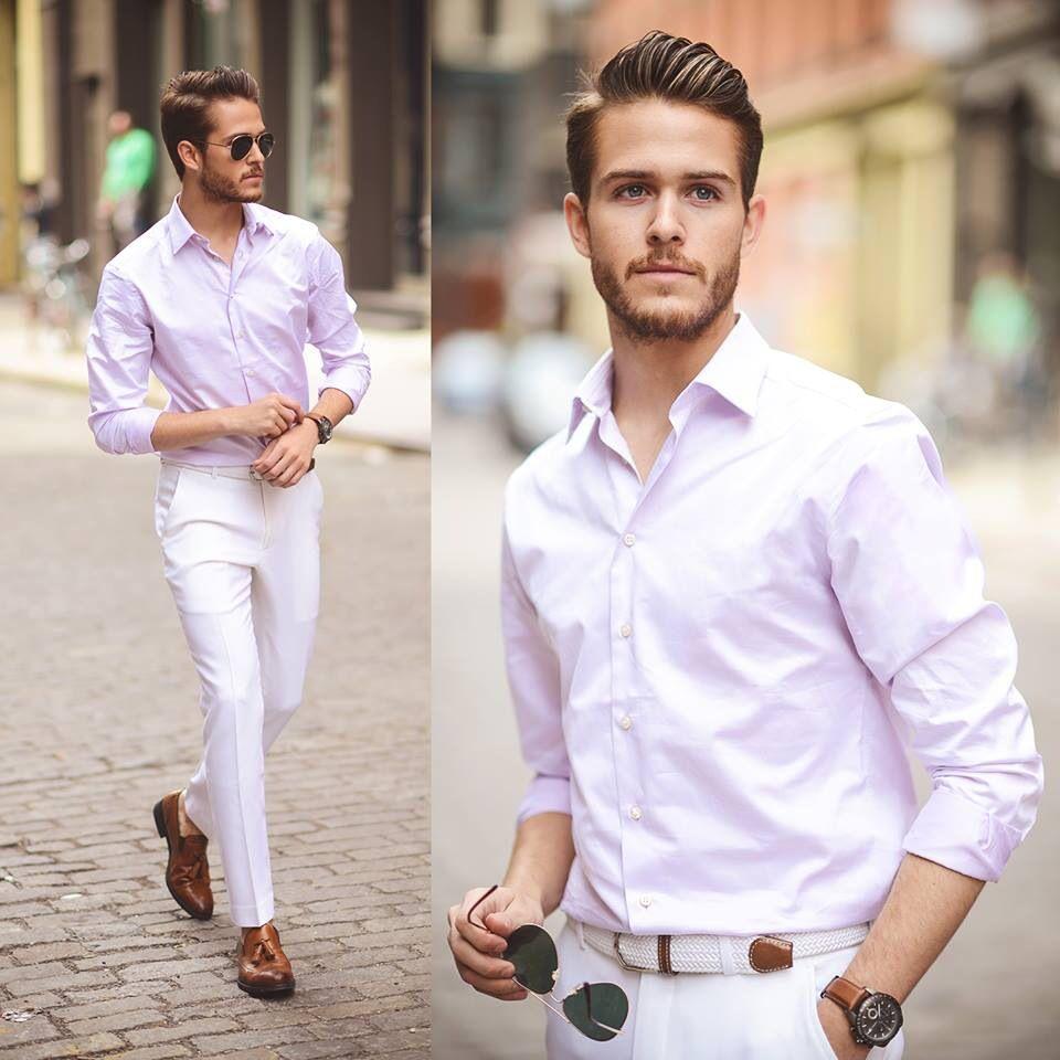 Light pink shirt, white pants | What I'd wear.