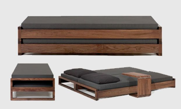 Solid, simple stacking guest bed. Simple, elegant and functional.