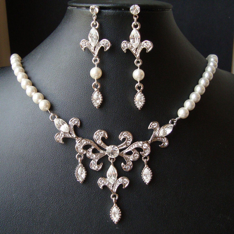 Bridal Jewelry SET Wedding Necklace Earrings Set Fleur De Lis