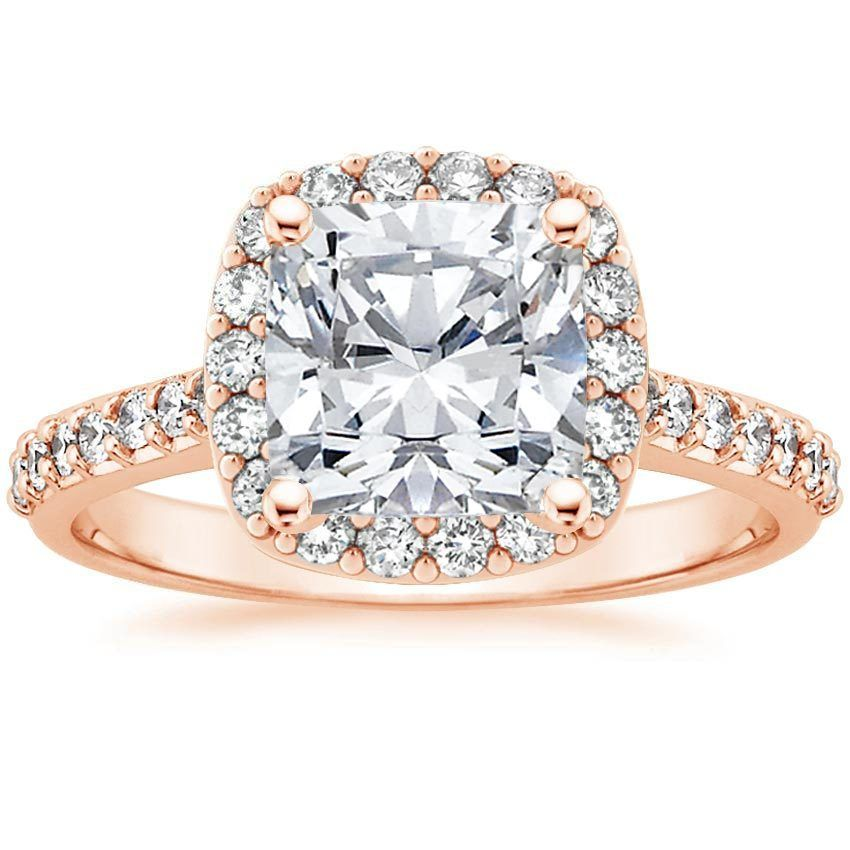 14K Rose Gold Fancy Halo Diamond Ring with Side Stones 2 5 ct tw