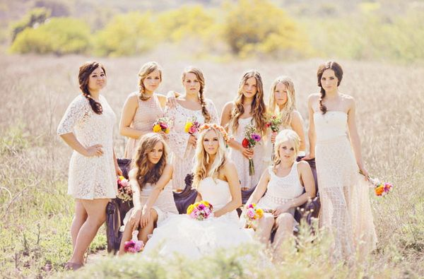 short boho bridesmaid gowns