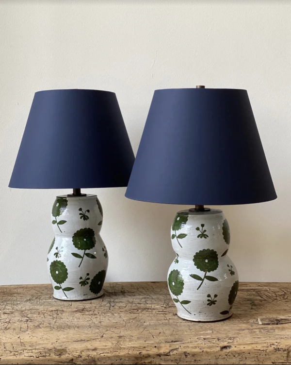 These Beautiful Lamp Bases Were Hand Painted By The Artist Rebekah Miles Custom Navy Blue Cloth Lamp Shades Sold As A Pa Ceramic Table Lamps Lamp Table Lamp