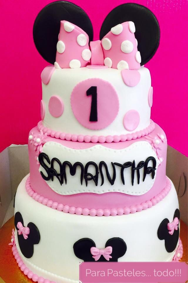 Pastel Minnie Mouse Fondant 3 Pisos Party Evas