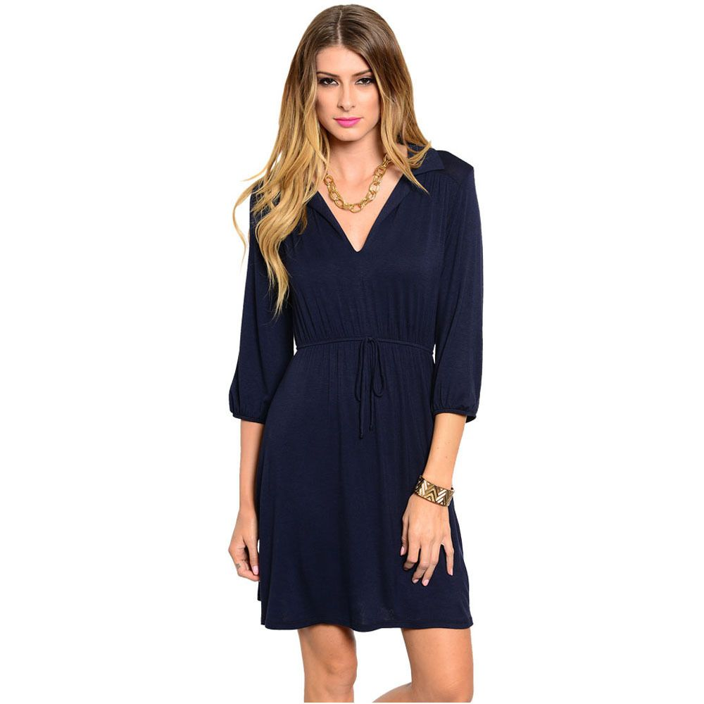 Feellib Women's Quarter Sleeve Midi Dress With Cinched Drawstring Waistline And Blouson Style Sleeves - Overstock™ Shopping - Top Rated Casual Dresses