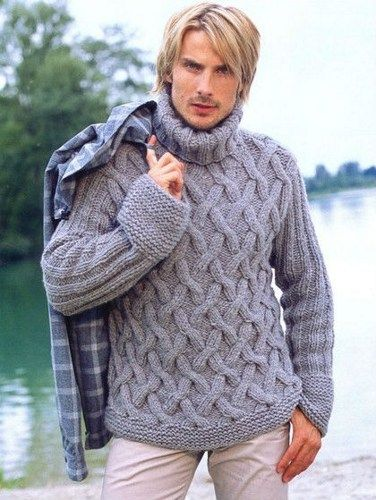 9bdc1288d7517 Mens Sweater Hand Knit Cable Patter Fisherman Sweeater Made to Order ...