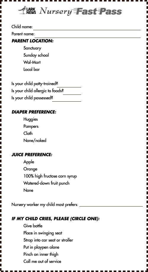 Nursery Fast P Checklist Larknews