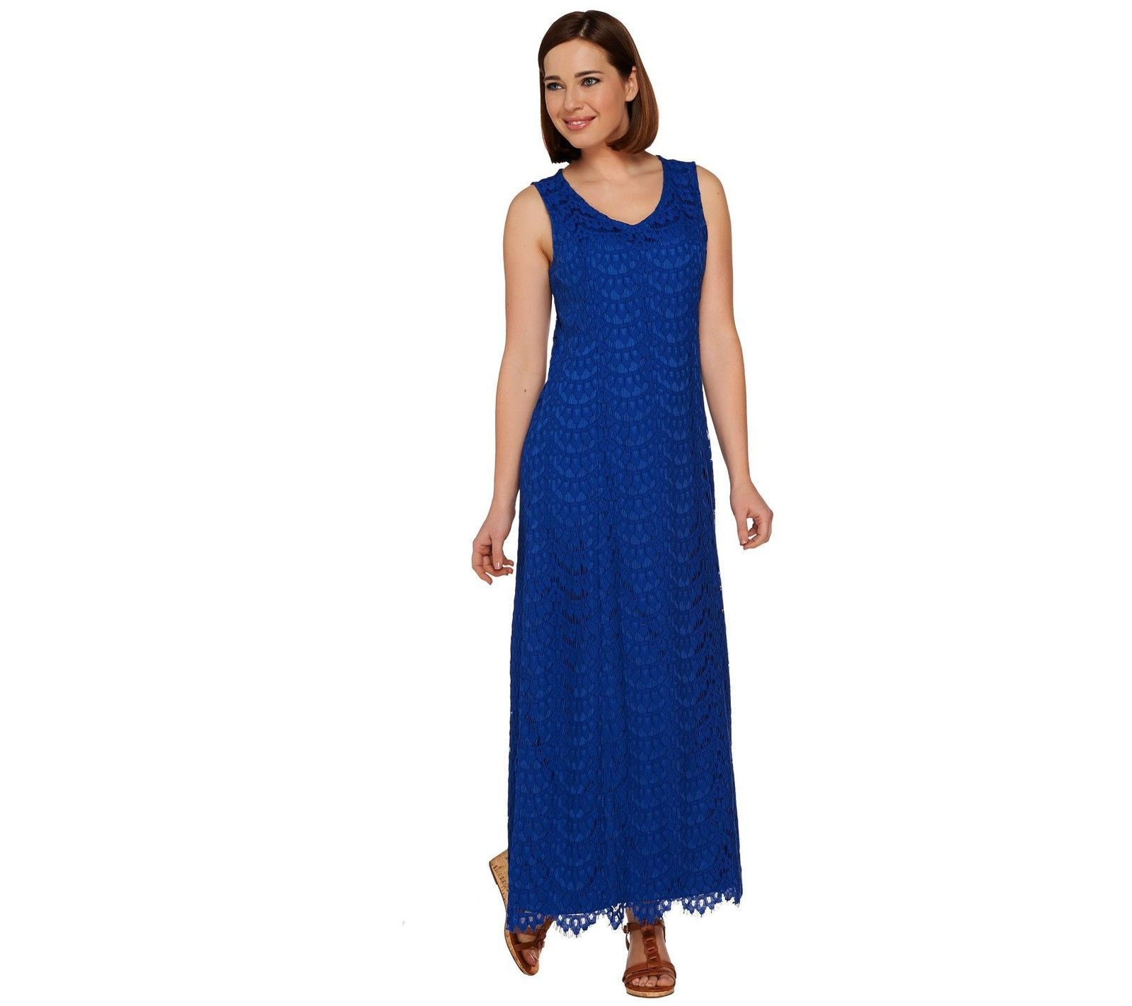 Lace v neck maxi dress  Isaac Mizrahi Lace VNeck Maxi Dress Zip Scallop Hem Ink Blue X NEW