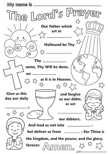Lord S Prayer Color Your Own Poster 50pk Bible School Crafts