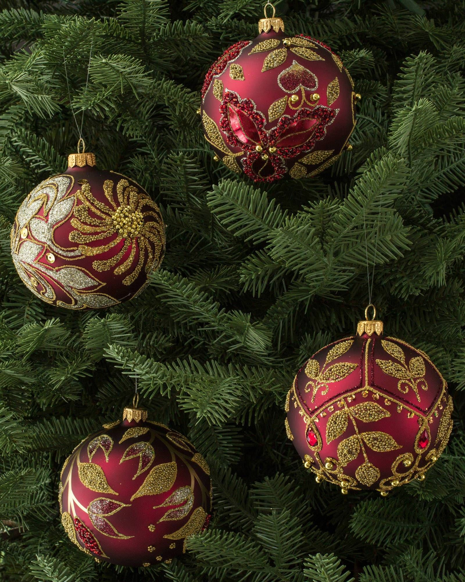 Decorating Glass Ball Ornaments Burgundy And Gold Decorated Glass Ball Ornament Set 4 Pieces Main