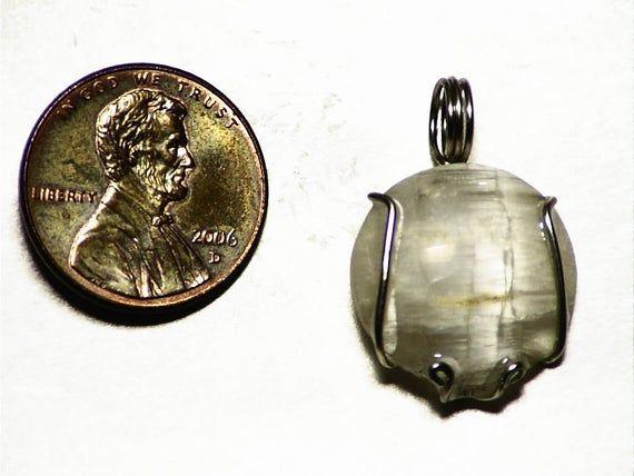 White Tourmaline Round Pendant (9.6 ct) Cats Eye Tourmaline Necklace in 14k White Gold Achroite Tou