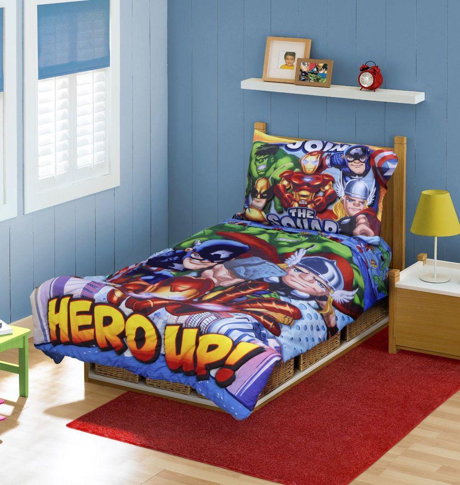 Marvel Comics Super Hero Big Boys Toddler Bedding 4 Piece Bedroom Set Hulk  Thor #Novelty
