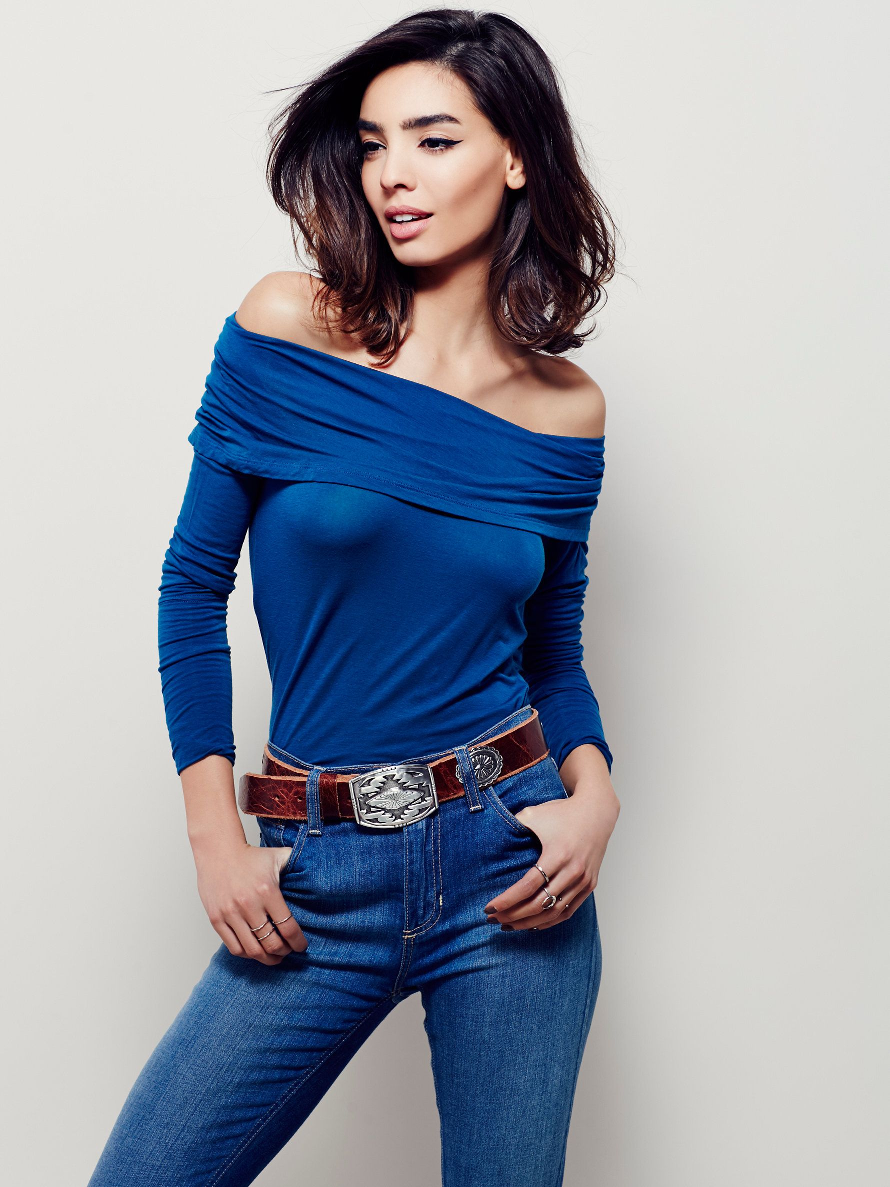 Cassiopia Tee | So-soft jersey off-the-shoulder top with a fitted silhouette and sultry rollover neckline.