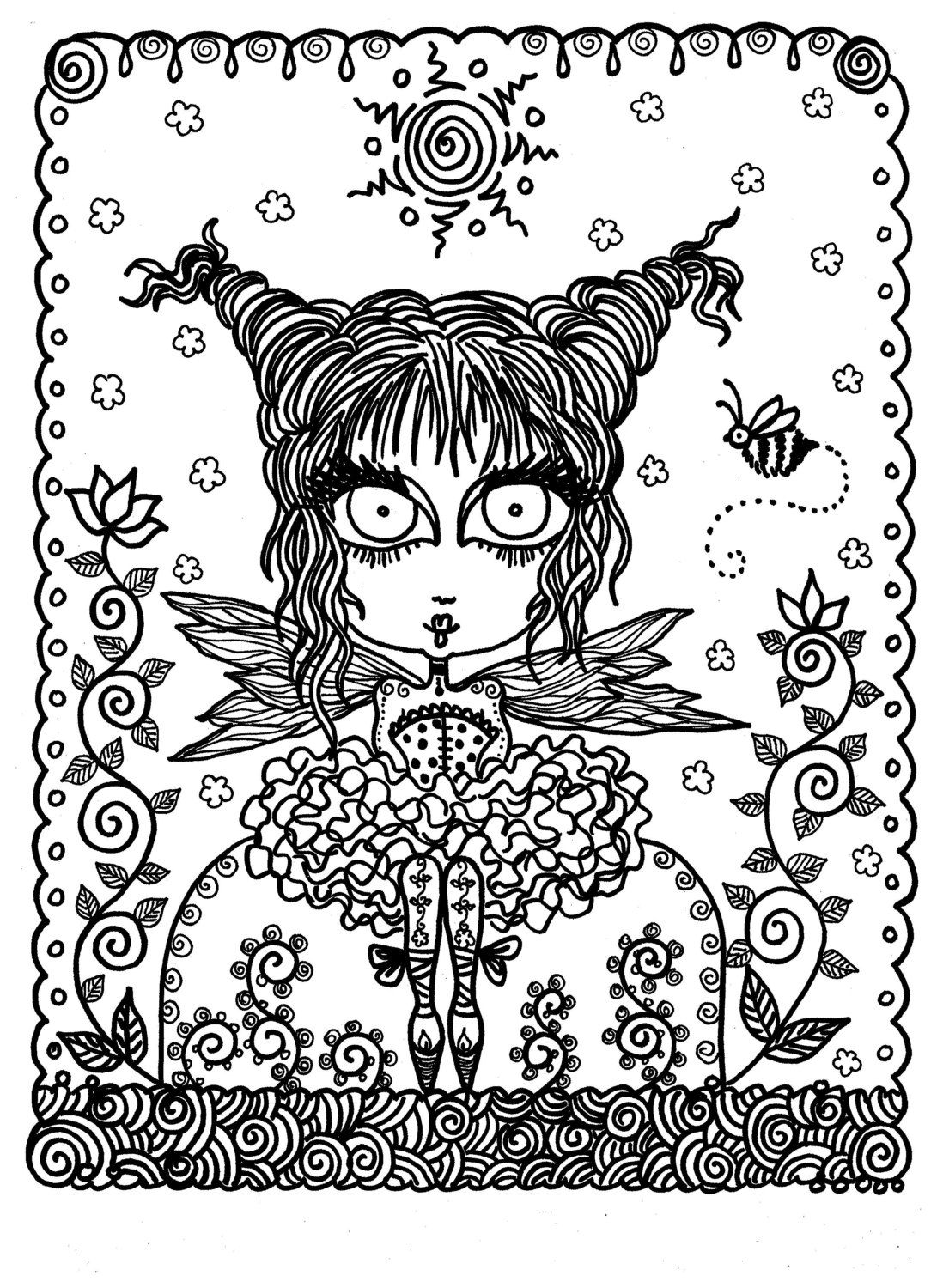 Downloadable Coloring Book Pages Funky Fairy by ChubbyMermaid ...
